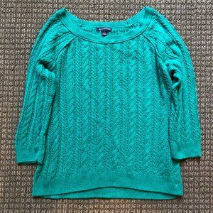 American Eagle teal cable knit sweater